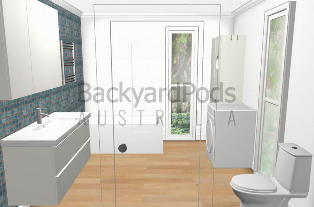 Bath and laundry pod 3m x 3m with IKEA fit out