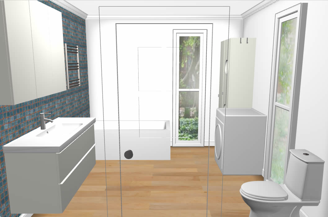 Bathroom and laundry pod 3m x 3m with ikea fit out for Pod style bathroom