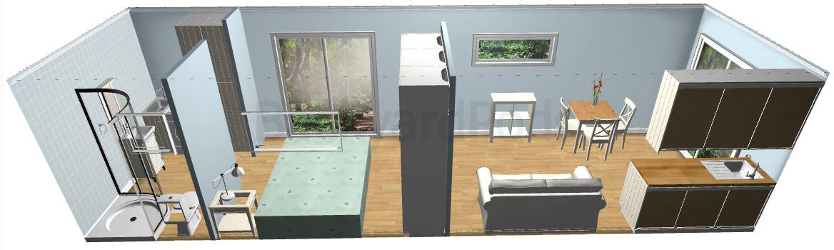 """""""Rebecca"""" - FSC 1BR garden flat 3m x 10m"""