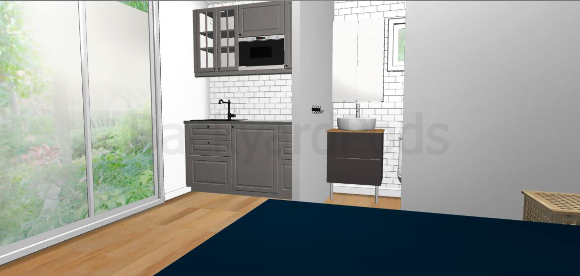 Compact 39 studio flat 39 4m x 5m for homecoming melbourne for Kitchen design 6m x 3m