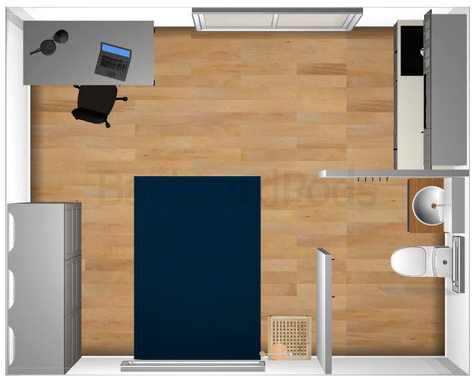 """Anni"" - SC studio garden flat 4m x 5m - top view"