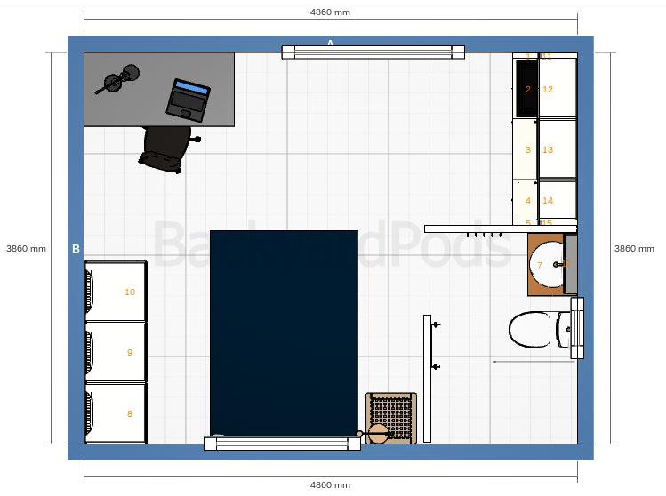 """""""Anni"""" - SC studio garden flat 4m x 5m - floor plan"""