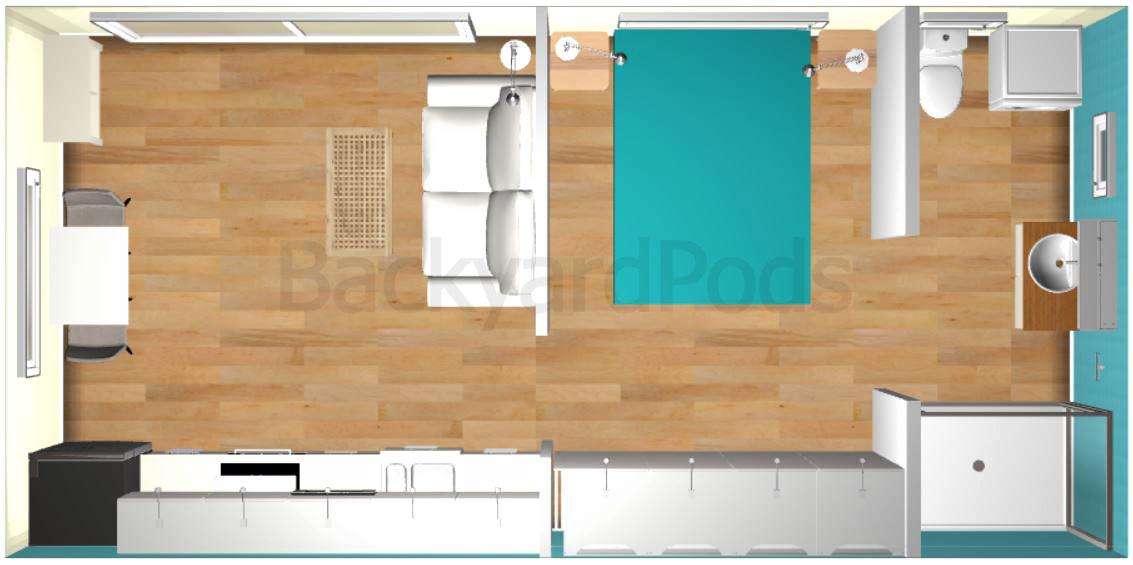 """Carmel"" - FSC 1BR garden flat 4m x 8m - top view"