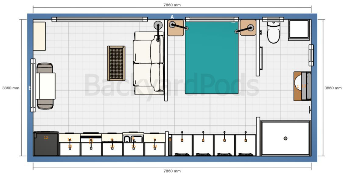 """Carmel"" - FSC 1BR garden flat 4m x 8m - floor plan"