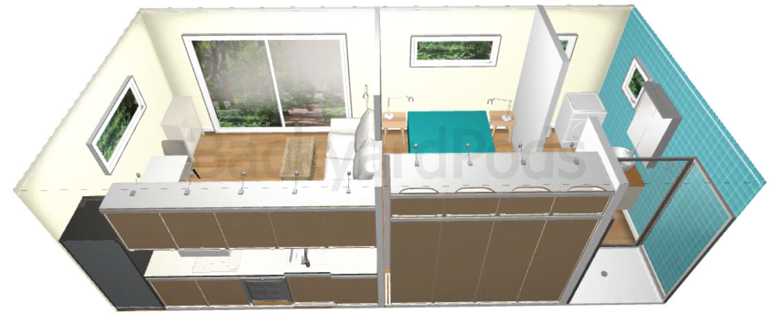 """Carmel"" - FSC 1BR garden flat 4m x 8m - top /back view"