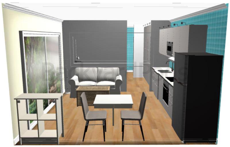 """Carmel"" - FSC 1BR garden flat 4m x 8m - living room and kitchen area"