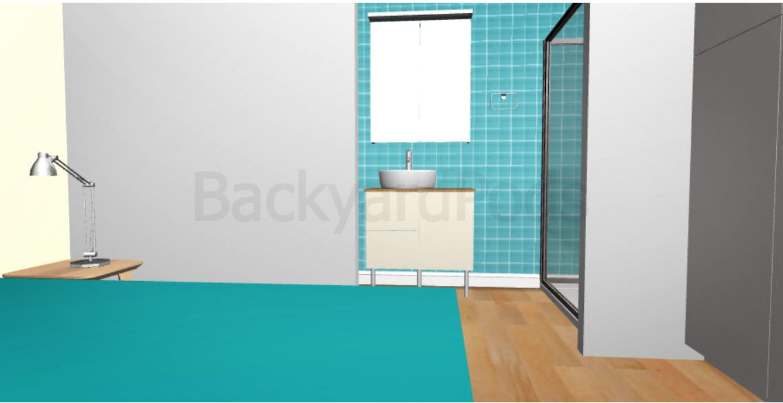 """Carmel"" - FSC 1BR garden flat 4m x 8m -bathroom entrance"