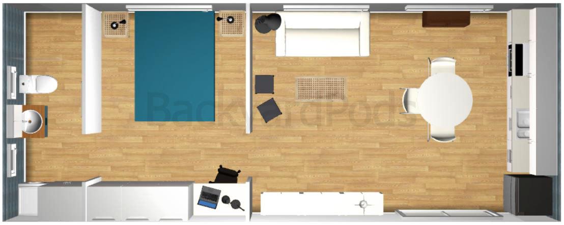 """Laurie"" - FSC 1BR garden flat 4m x 10m - top view render"