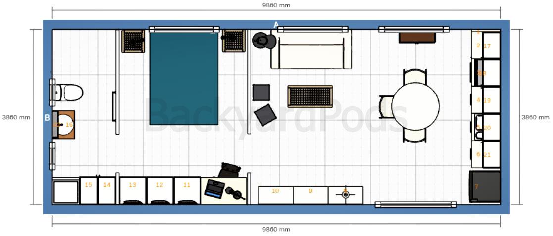 """Laurie"" - FSC 1BR garden flat 4m x 10m - floor plan"