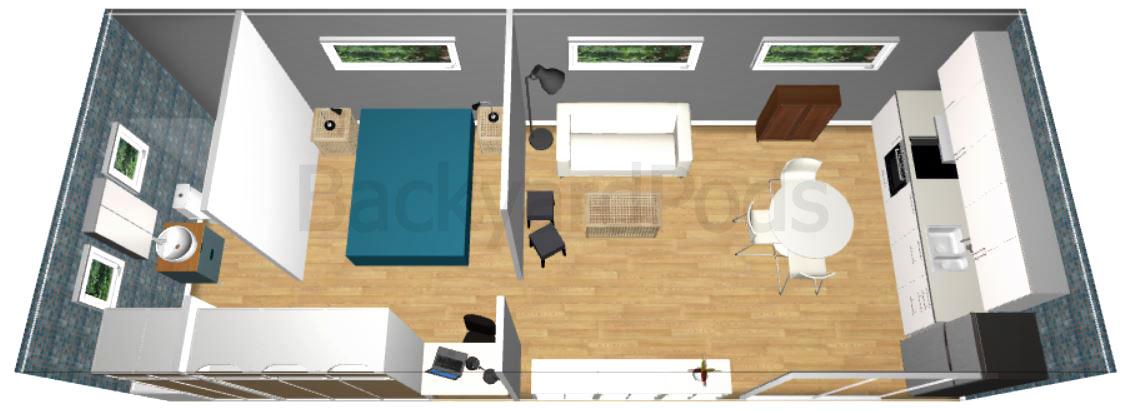 """""""Laurie"""" - FSC 1BR garden flat 4m x 10m - top view"""