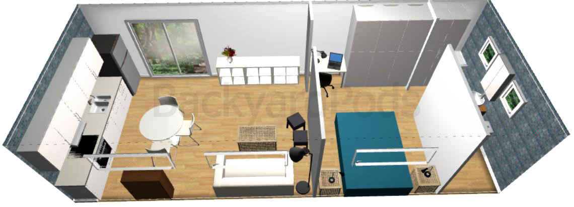 """Laurie"" - FSC 1BR garden flat 4m x 10m -top/back view"