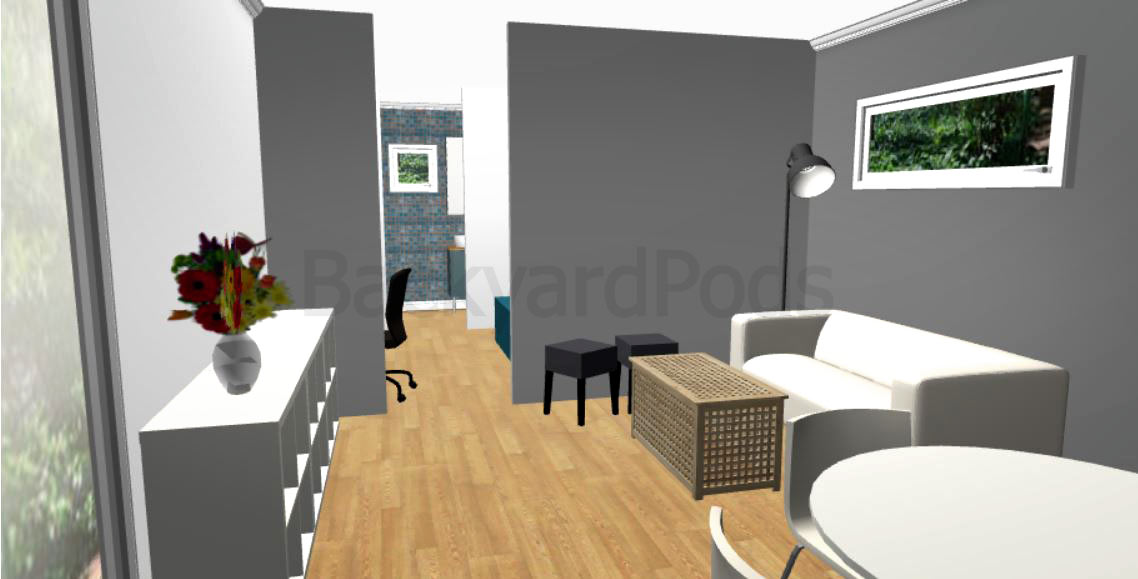 """Laurie"" - FSC 1BR garden flat 4m x 10m - living room area"