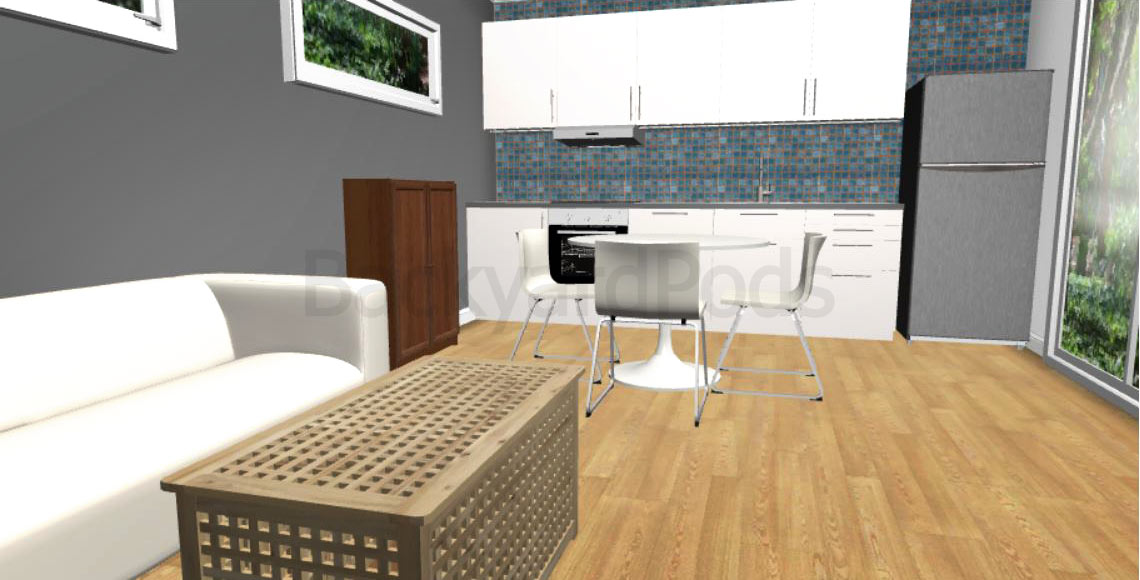 """Laurie"" - FSC 1BR garden flat 4m x 10m- kitchen and living room area"