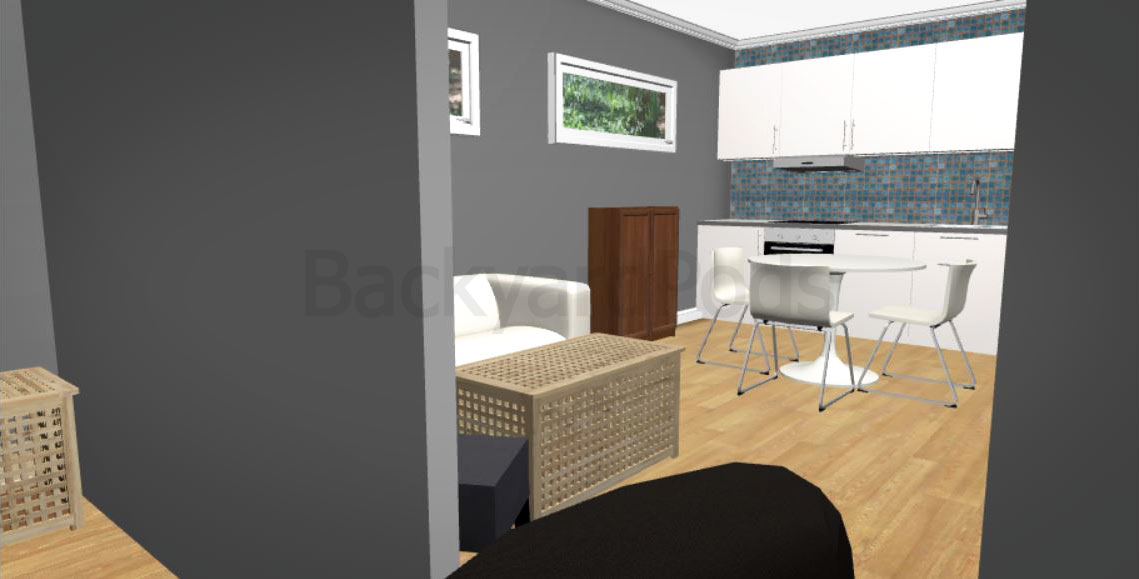 """Laurie"" - FSC 1BR garden flat 4m x 10m - kitchen area"