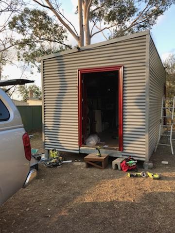DIY Backyard Pod storage shed project - door frame done