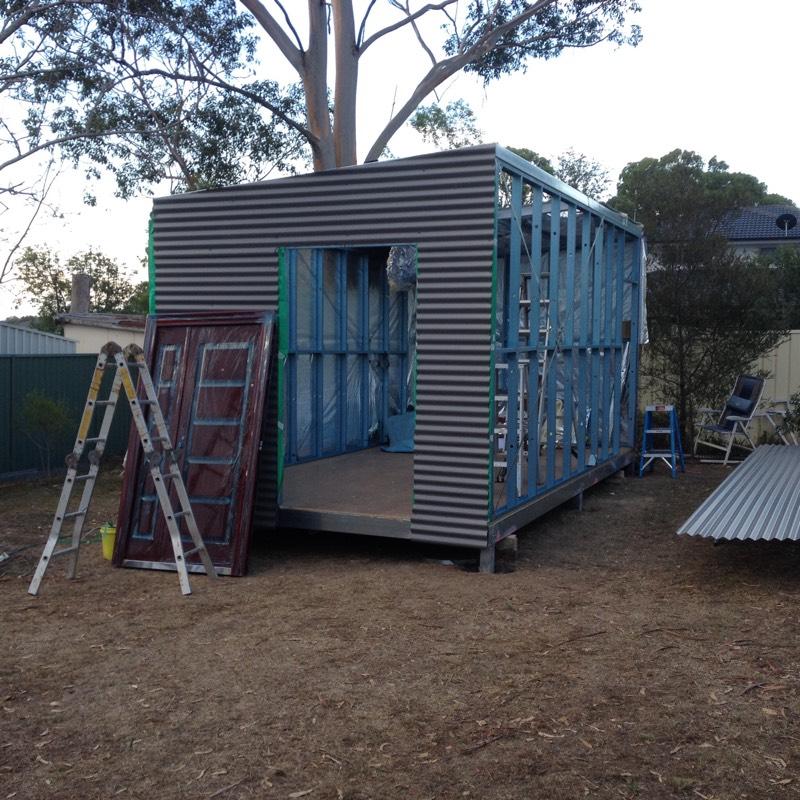 DIY Backyard Pod storage shed project - sheeting