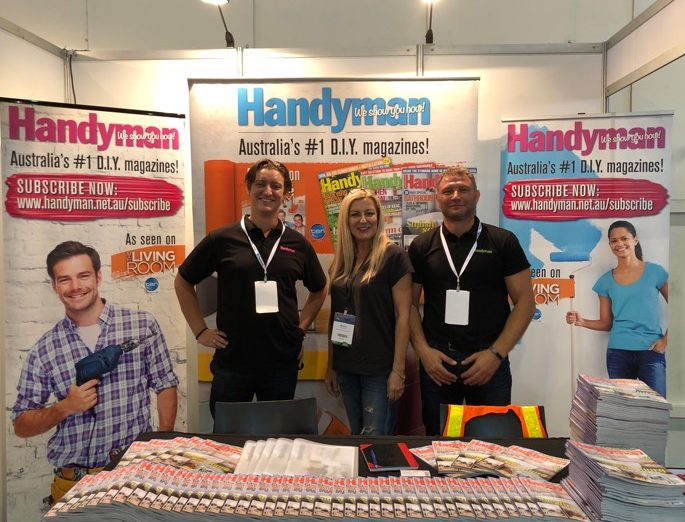 Mel Williamson of Backyard Pods with Handyman magazine at the Sydney Build Expo 2018