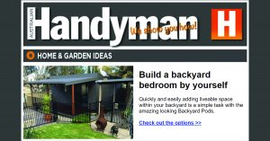 Backyard Pods - article in Handyman