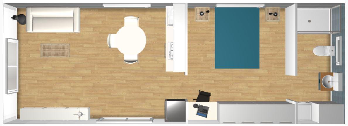 1BR 4m x 11m Backyard Pod Kit - 3D render top view