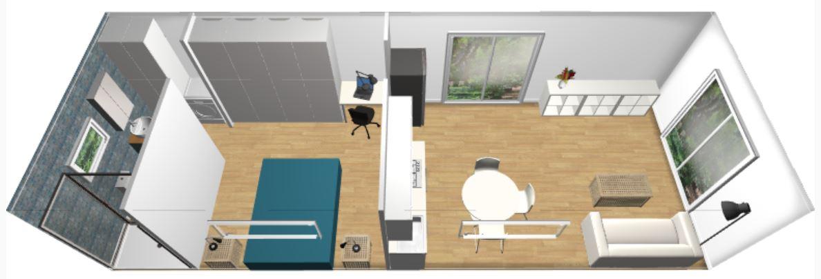 1BR 4m x 11m Backyard Pod Kit - 3D render upper back side view