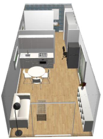 1BR 4m x 11m Backyard Pod Kit - 3D render side view