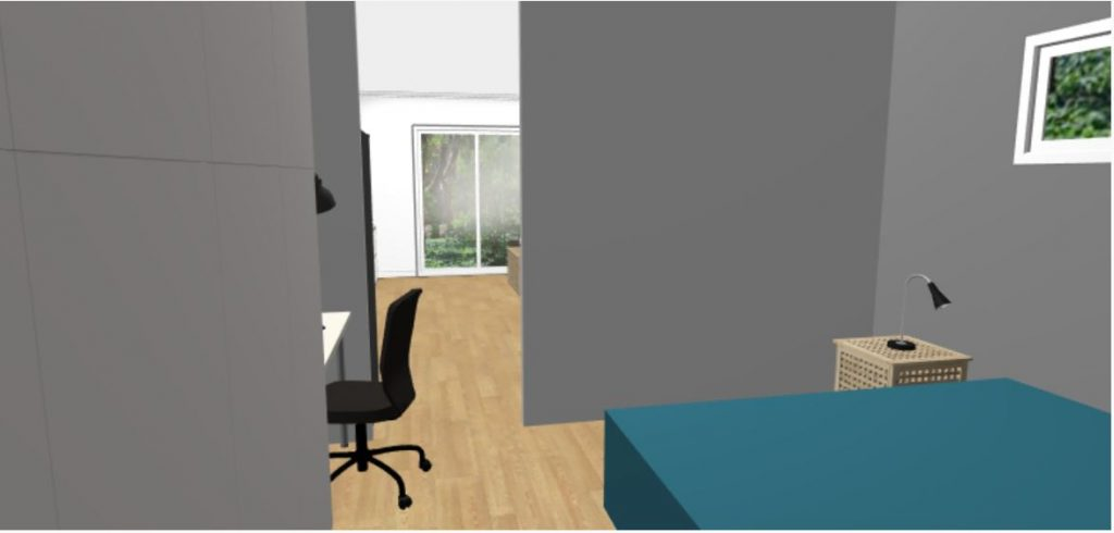 1BR 4m x 11m Backyard Pod Kit - 3D render bedroom