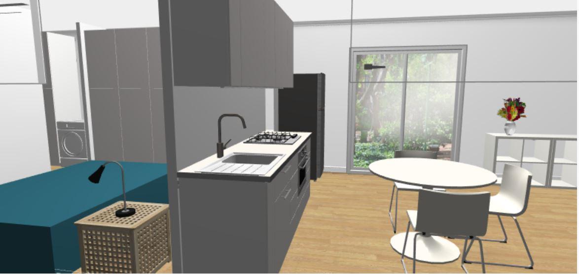 1BR 4m x 11m Backyard Pod Kit - 3D render kitchen space
