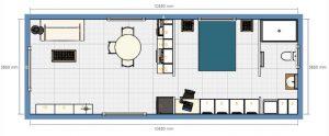 1BR 4m x 11m Backyard Pod Kit - 3D render floor plan