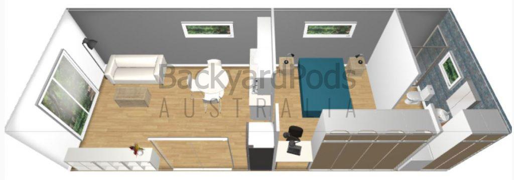 1 BR backyard pod kit size 4m x 11m with internal layout