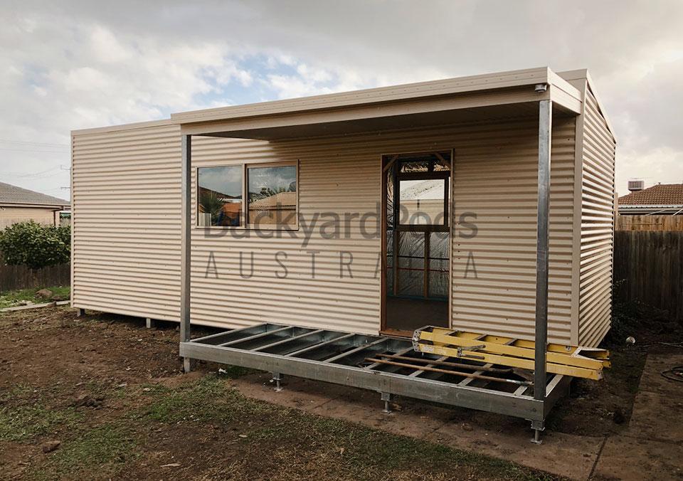 Affordable future-ready granny flat (DPU) 4m x 8m with veranda in suburban Melbourne VIC