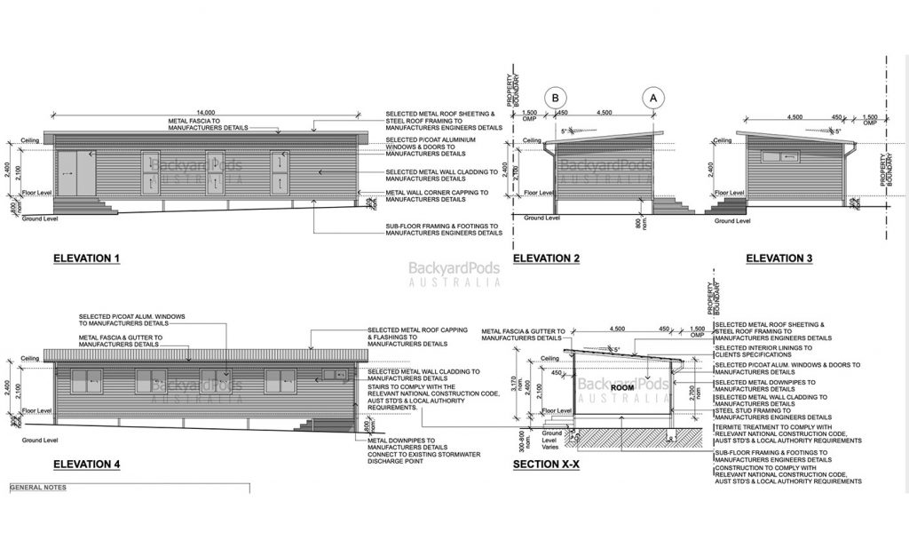 backyard-pods plans diagram - 'Brady Bunch' sleep-out pod in Aspley