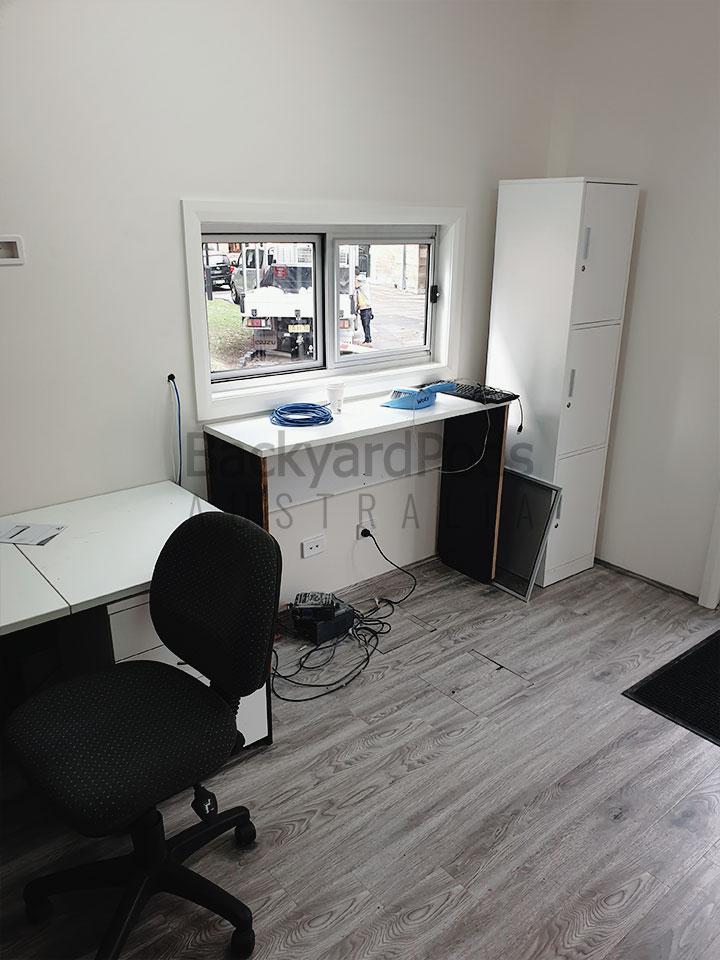 Movable office pod security post at National Art School, Darlinghurst, Sydney, NSW
