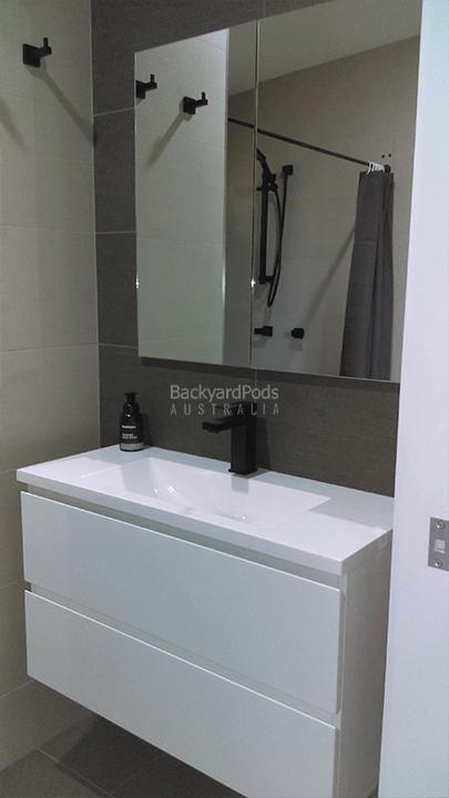DIY 2-bedroom holiday cabin 3.6m x 13m Ballina, NSW - vanity mirror