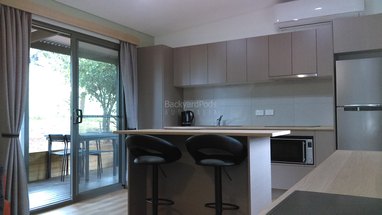 Respite by the Creek DIY 2-bedroom holiday cabin 3.6m x 13m Ballina, NSW - kitchen area