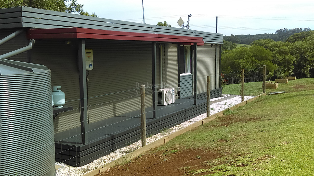 Respite by the Creek DIY 2-bedroom holiday cabin 3.6m x 13m Ballina, NSW - lawn