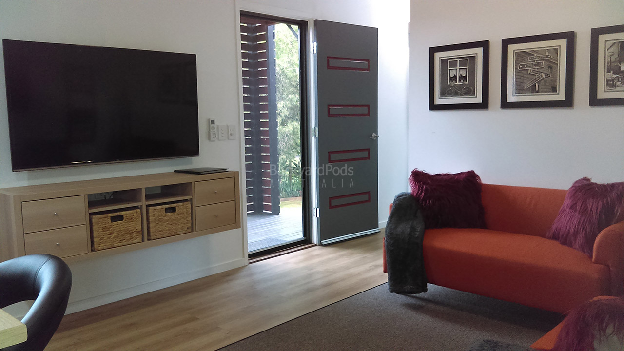 DIY 2-bedroom holiday cabin 3.6m x 13m Ballina, NSW - living room