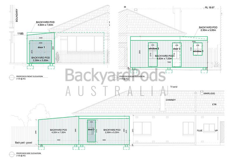 Backyard Pods- Fiore 2.5 x 5m 4 x 7m Bonville Croyden, NSW floorplan