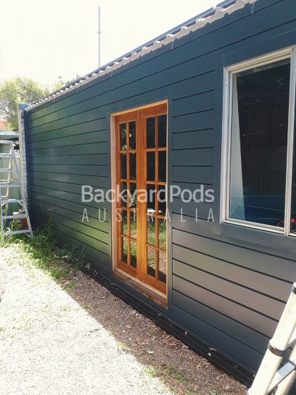 Bathroom and laundry extension 2.5 x 5m + 4 x 7m L-shaped in Bonville cladding - Croydon NSW