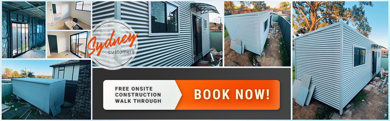 Backyard Pods onsite construction walkthrough Sydney