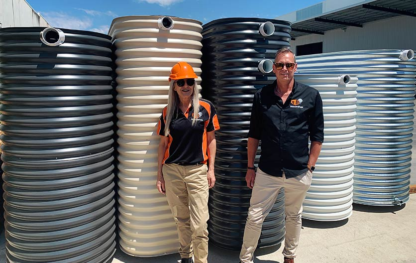 Colorbond and Kingspan slimline water tanks with Mel and Brett
