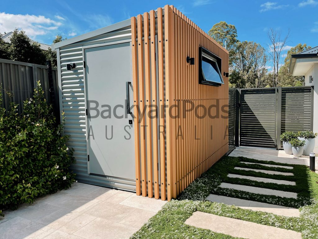 Stylish home office 2.1m x 3.6m with timber-look facade at Cobbity NSW