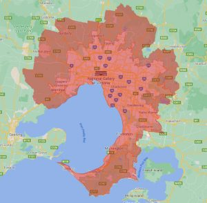 Backyard Pods Melbourne delivery map